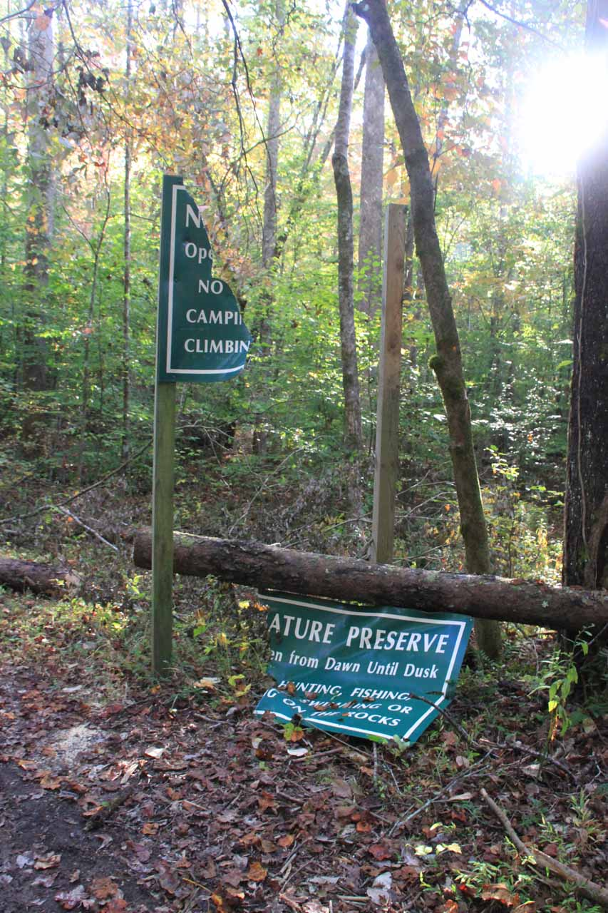 A seemingly sabotaged Natural Preserve sign