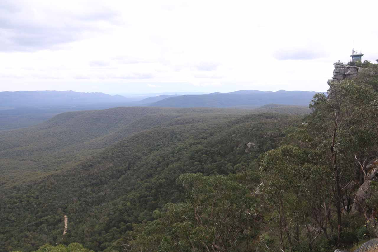 Off the C222 between Halls Gap and Zumsteins was the Reeds Lookout area, which featured expansive panoramic views like this one towards some kind of lookout tower and the rugged scenery below