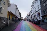 Reykjavik_051_08042021 - Looking along some kind of rainbow street that was momentarily not pedestrianized during the evening of our visit to downtown Reykjavik