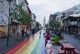 Reykjavik_094_08042021 - Approaching the Hallgrimskirkja via the rainbow street in downtown Reykjavik