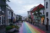 Reykjavik_100_08042021 - Looking back at the rainbow street sloping towards Laugarvegur in Reykjavik