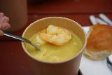 Reykjavik_Rtn_062_08212021 - Closeup look at the curry-powdered seafood soup served up at Reykjavik Street Food in downtown Reykjavik