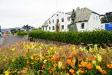 Reykjavik_Rtn_074_08212021 - Another look across some flowers towards the Prime Minister's Building as we were walking back towards the Old Harbor of Reykjavik