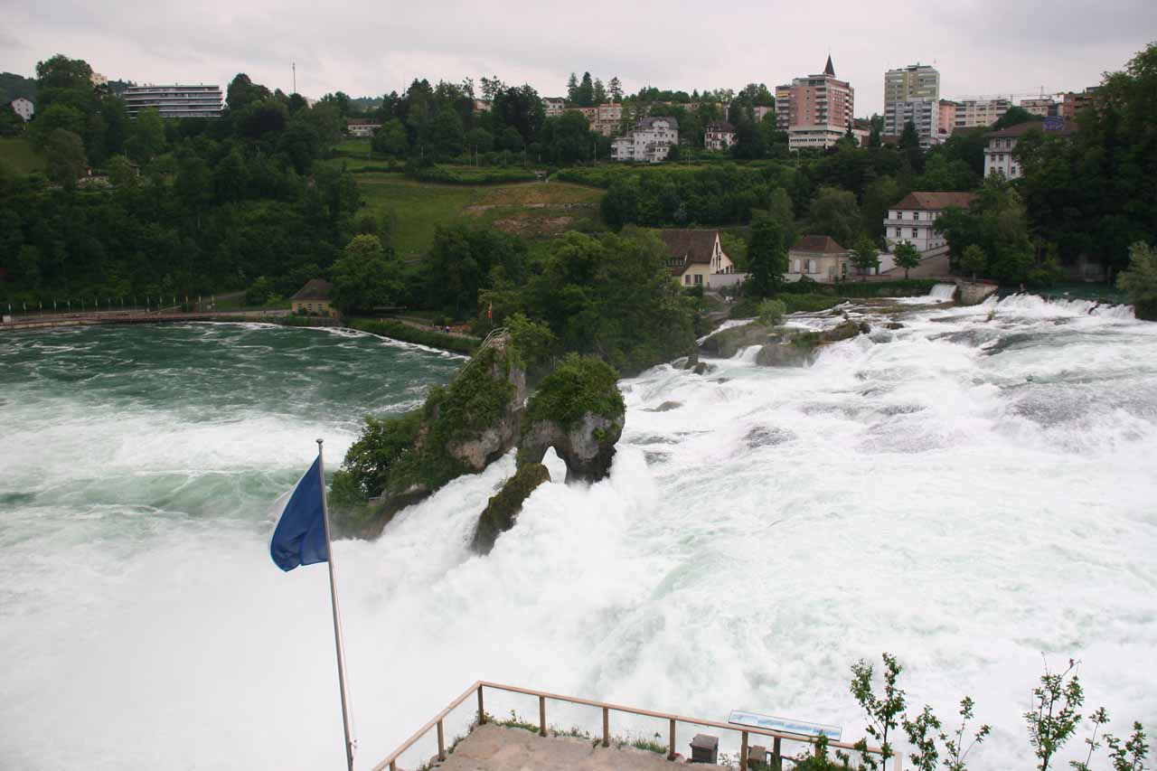 Looking across Rhine Falls from the Schloss Laufen side