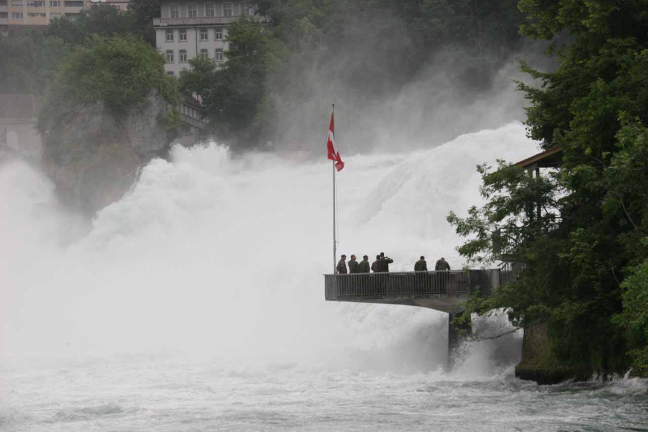 Platform protruding over part of Rhine Falls