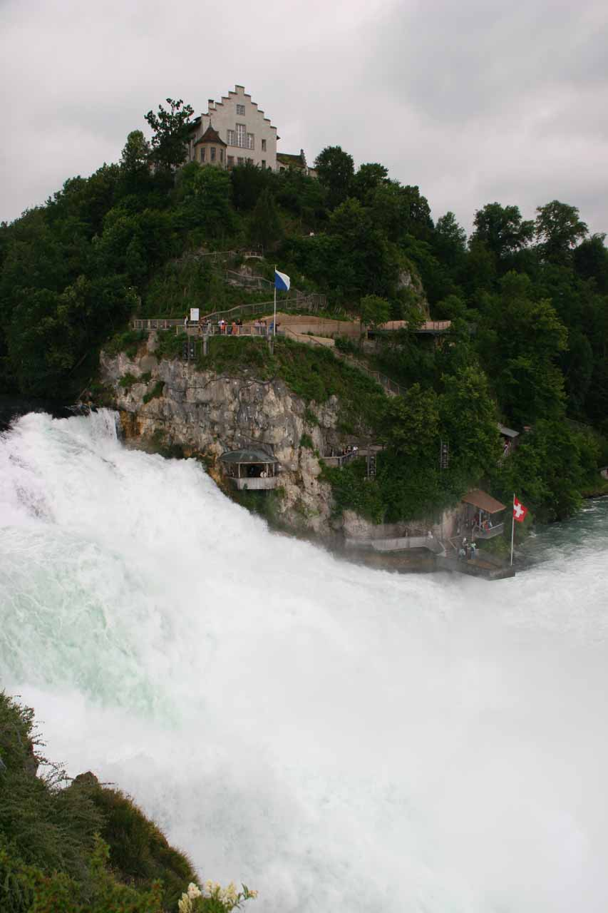 Looking across a large chunk of Rhine Falls towards Schloss Laufen from the Middle Island