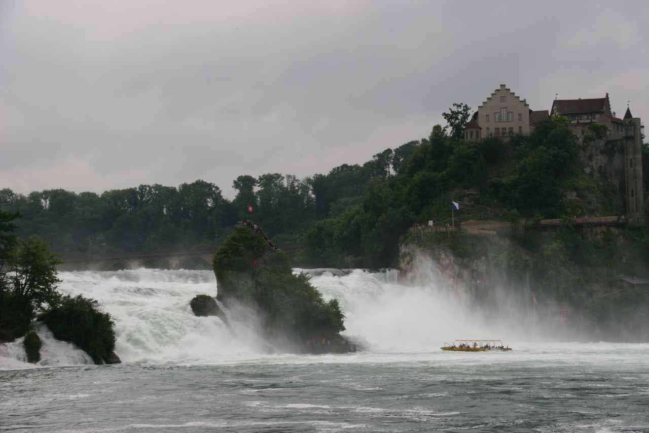 This is a view of Rhine Falls and Schloss Laufen as seen from the main walkway on the Schlossli Worth side