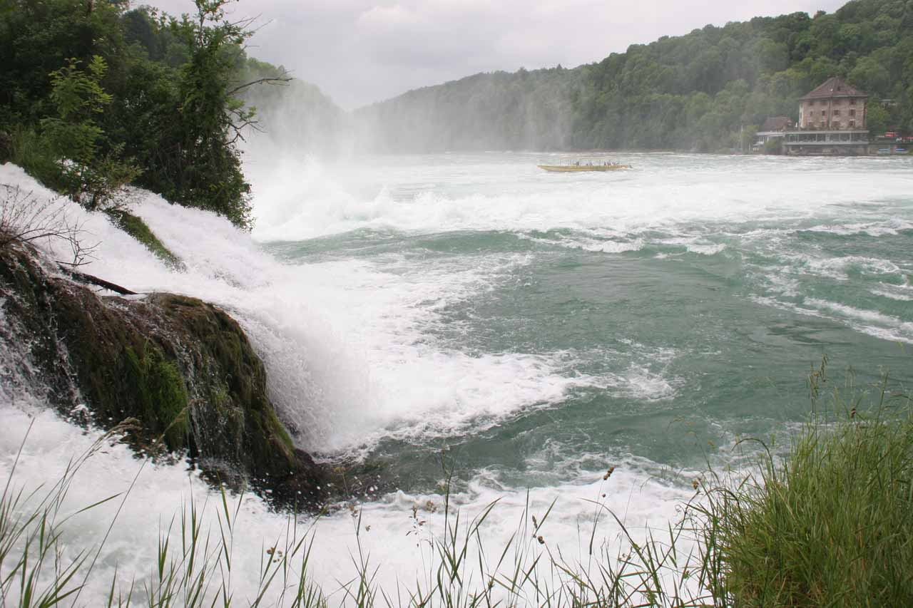 View of Rhine Falls looking towards Schlossli Worth on the far topright of this photo