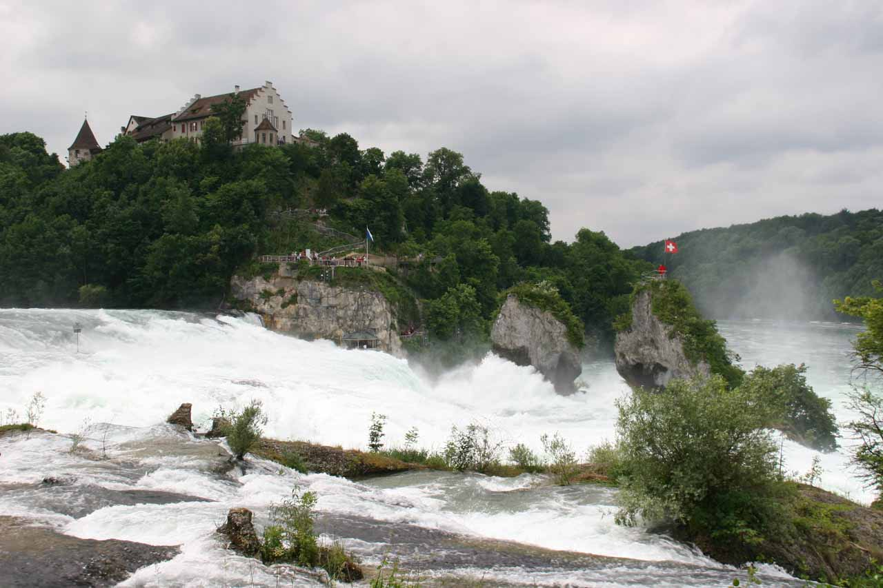 Looking back at Rhine Falls from above on the ascending walk back up towards Neuhausen