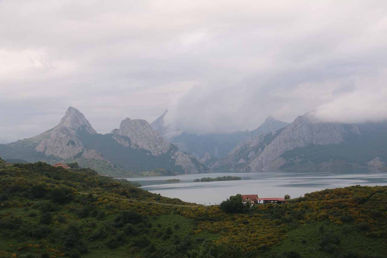 Looking over a man-made lake near the town of Riano with mountains resembling something out of Patagonia backing it