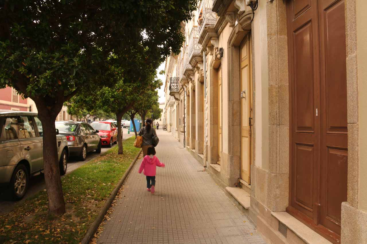 Julie and Tahia walking towards downtown Ribadeo from the Parador