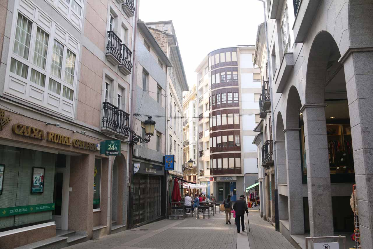 Walking within the surprisingly attractive arcades of Ribadeo's historical center