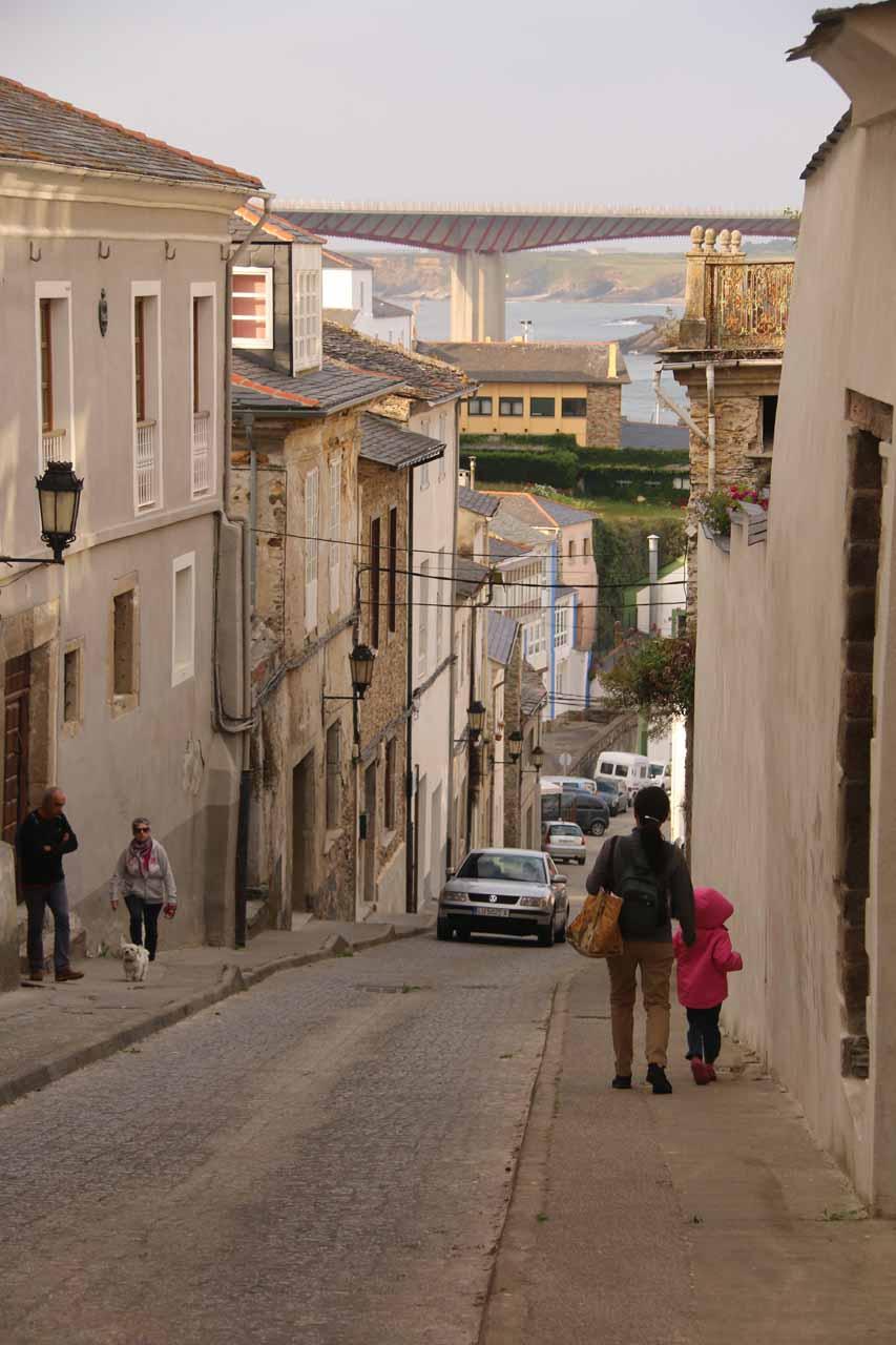 Julie and Tahia walking downhill towards the Meson Soldana Restaurant in Ribadeo