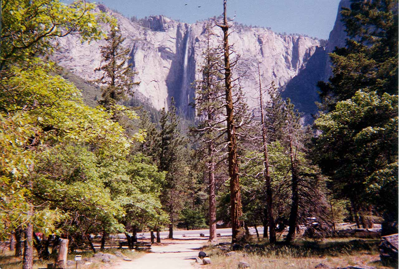 An old photo of Ribbon Falls from the base of Bridalveil Fall back in 1999