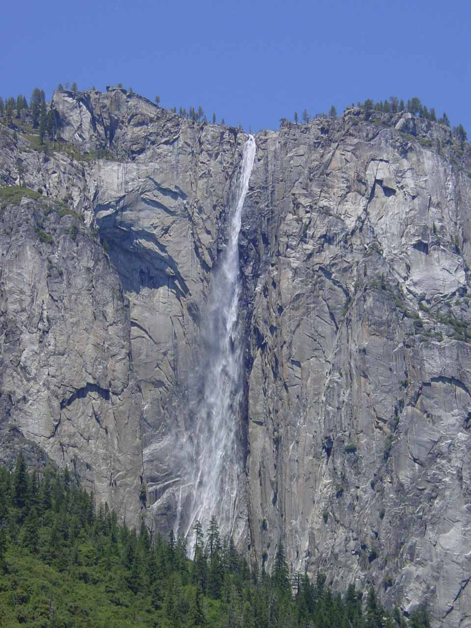 Ribbon Falls seen from the Southside Drive in late May 2002