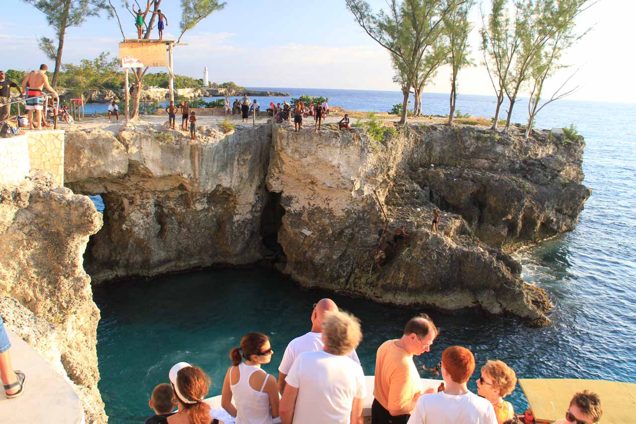 The cliff-diving spectacle at Rick's Cafe