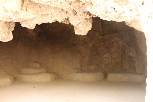 Rifle_Falls_045_04182017 - This was the inside of one of the caves or alcoves within the travertine dam holding up Rifle Falls. This cave appeared to have 'seats' inside though I'm not sure if they were genuine or not