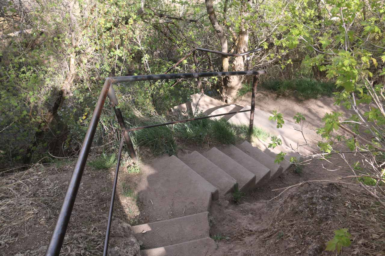 Descending back down these steps to complete the Coyote Trail loop