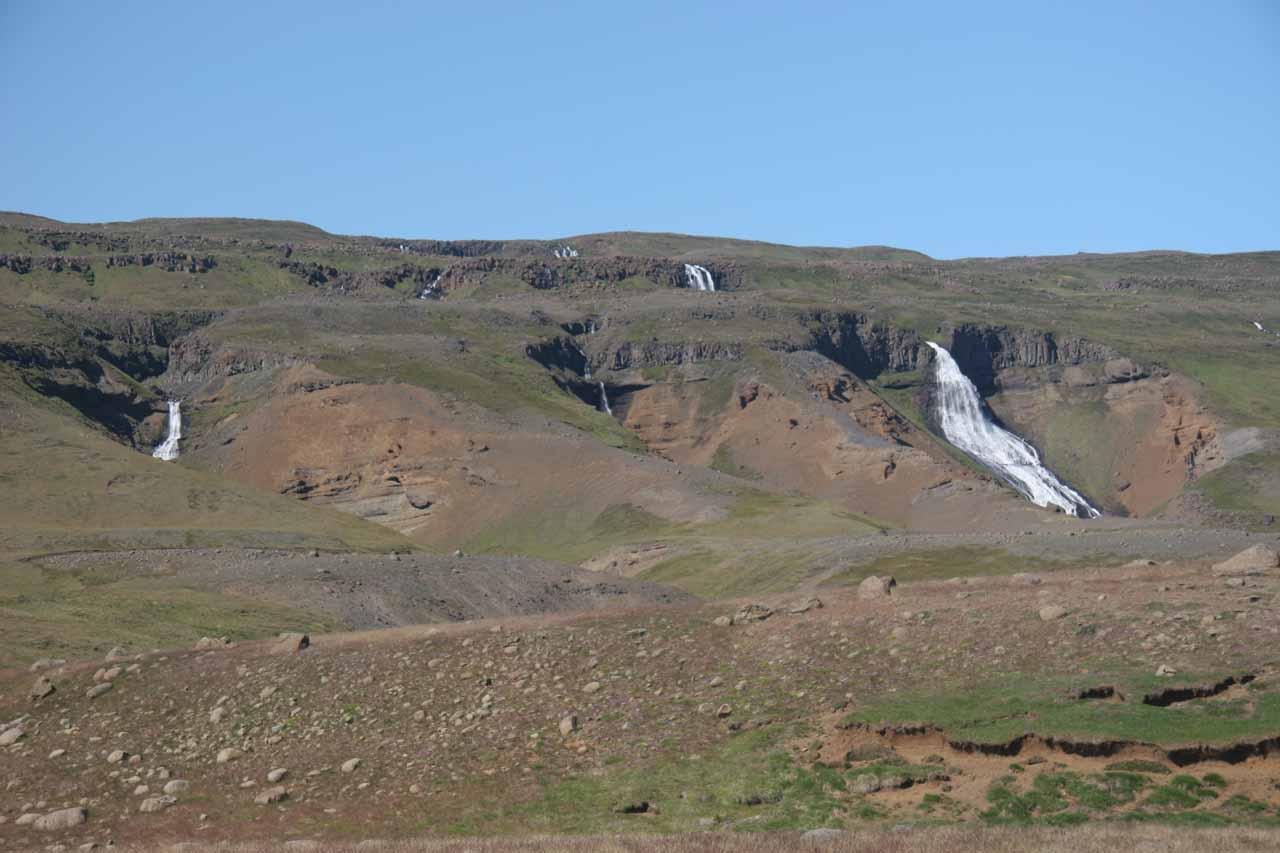 From our vantage point by the road, it was difficult to capture all the waterfalls in one go