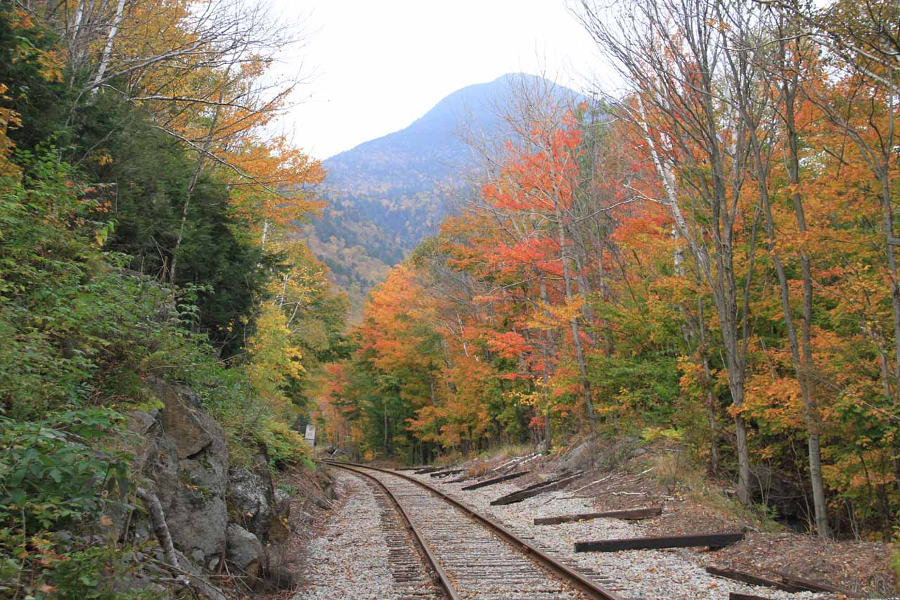 Crossing the railroad track to continue for Ripley Falls