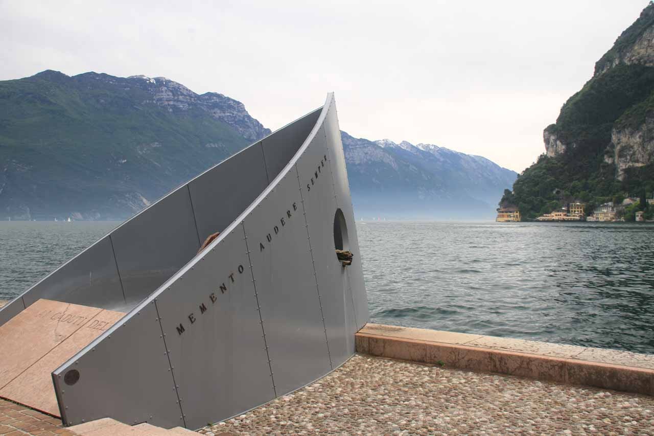 Some kind of memorial of a sinking ship on the far north shores of Lago di Garda at Riva del Garda