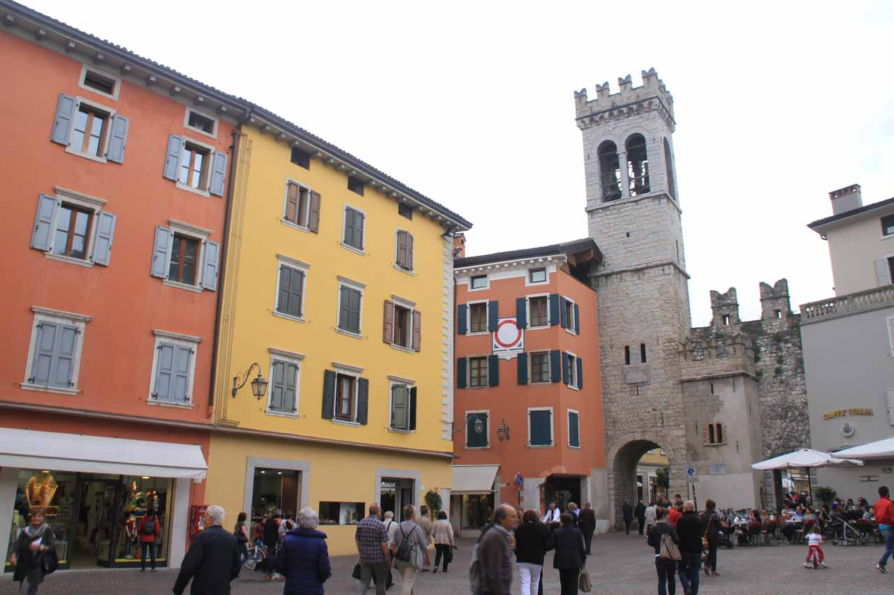 About to walk through a different gate and clock tower as we were exploring Riva del Garda