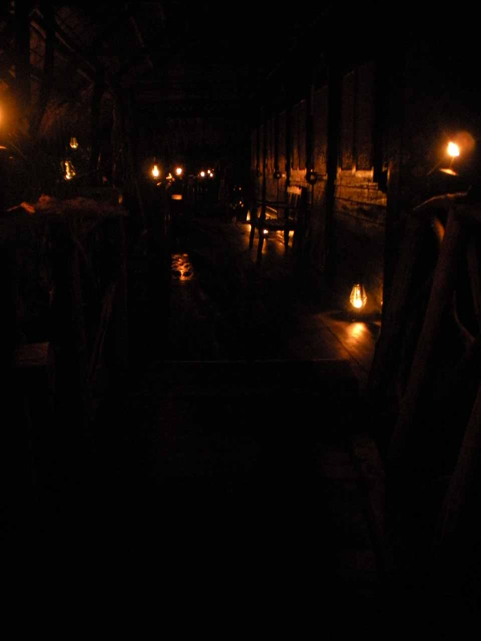 No electricity at the Jungle Raft - only candlelight and gaslight
