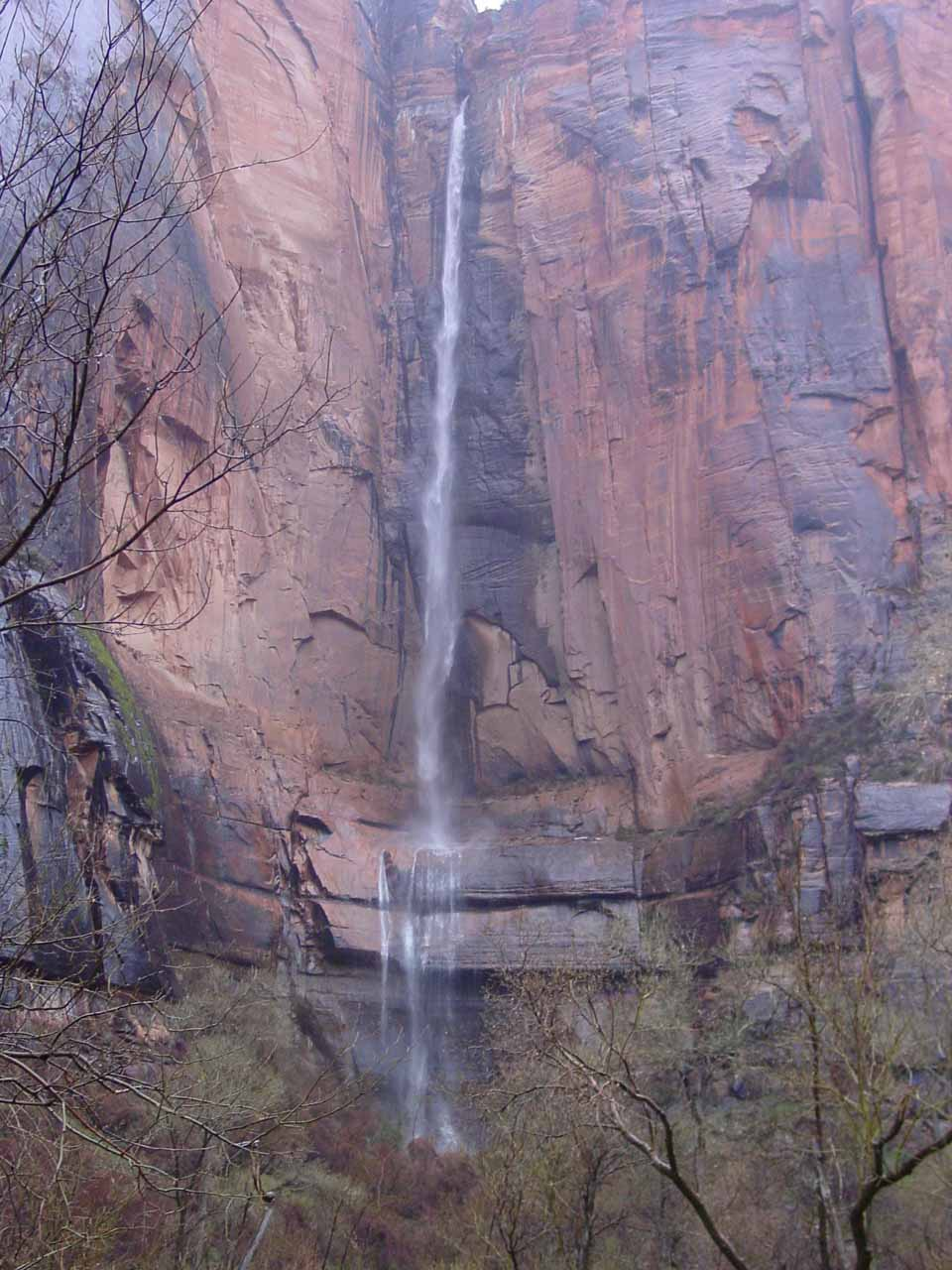 Direct view of the waterfall at Temple of Sinawava
