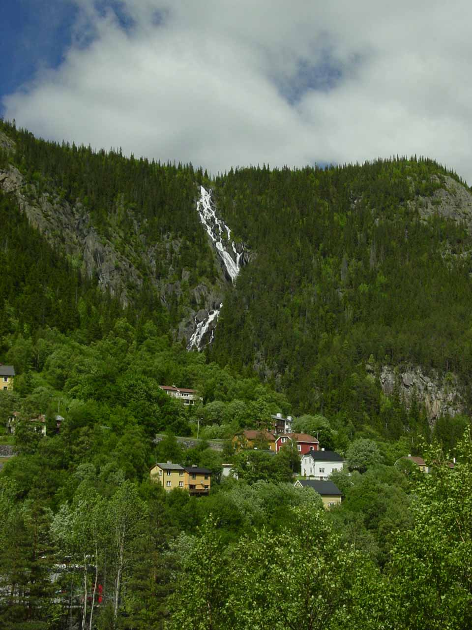 A waterfall by the town of Rjukan