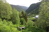 Rjukan_038_06192019 - Looking down towards some picnic table as well as the Vemork Power Station in the background on the Rjukanfossen Trail as seen during our June 2019