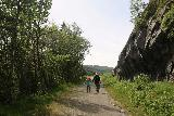 Rjukan_041_06192019 - Julie and Tahia approaching a clearing where the lookout for Rjukanfossen was on our June 2019 visit