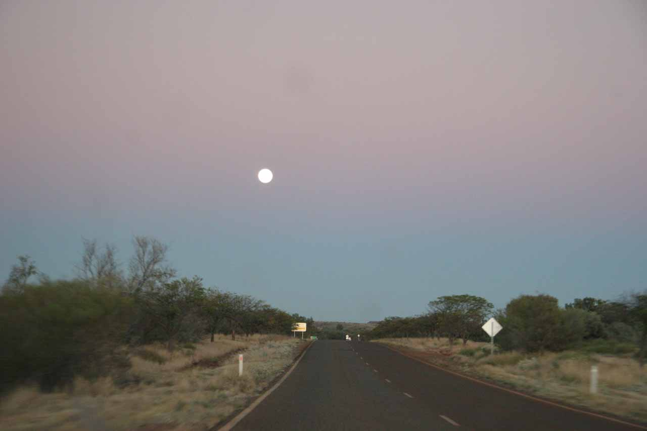 The pre-dawn full moon as we drove Road 136 west of Tom Price and Paraburdoo towards Coral Bay