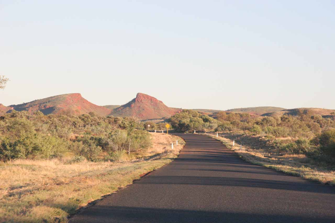 Some formations breaking up the otherwise featureless expanse of the Australian Outback in the Pilbara