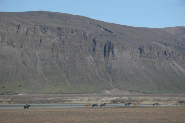 Road_26_010_07082007 - While driving up through Þjórsadalur, we saw this line of Icelandic horses trotting through the barren valley