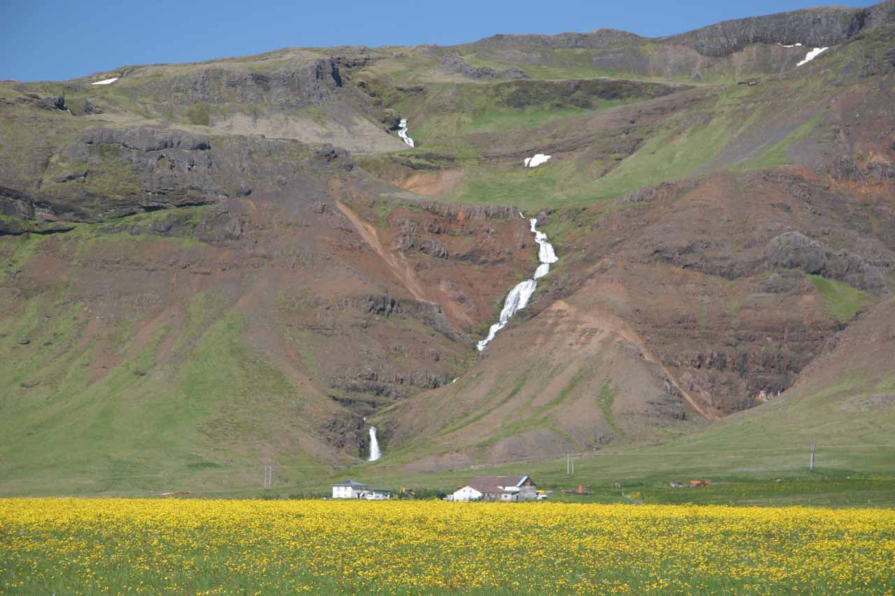 Gorgeous waterfall fronted by a just-as-gorgeous mat of wildflowers