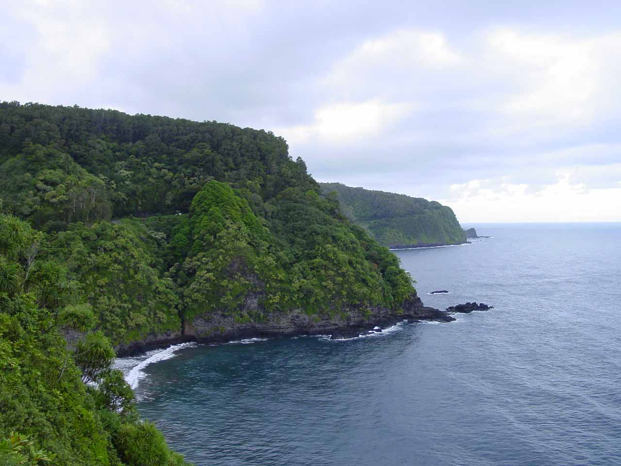 View of the coastline through which Hana Highway curves its way through