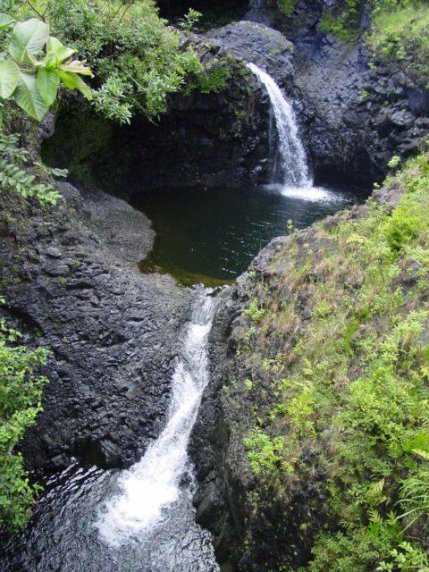 Road_to_Hana_209_09032003 - Waterfalls seen along the Pipiwai Trail in Oheo Gulch