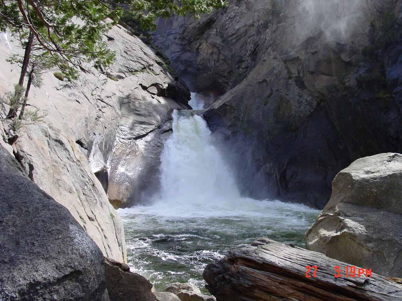 Roaring River Falls in moderate flow in April 2002