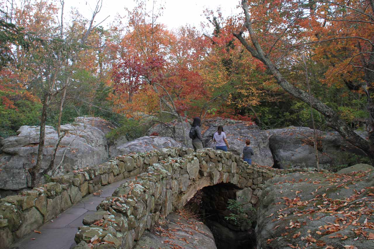 Traversing arched bridges on the Enchanted Trail