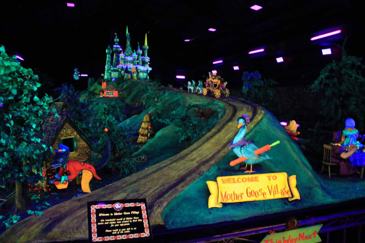 The ridiculously kitschy and Disney-like Fairyland Caverns