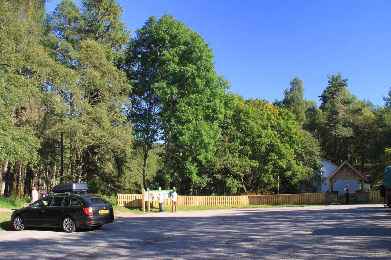 The pretty spacious car park at Rogie Falls right off the A835 road