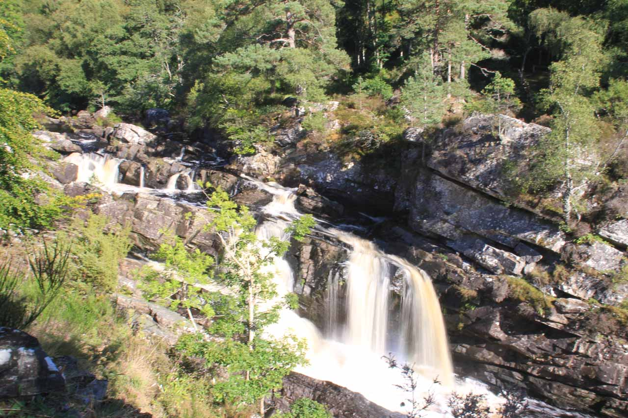 My first look at Rogie Falls before I got onto the suspension bridge