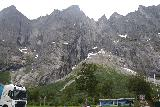 Romsdalen_038_07162019 - Looking up at the Troll Wall from the large car park at the Trollveggen Visitor Center in July 2019. This photo and the next several shots too place on this visit