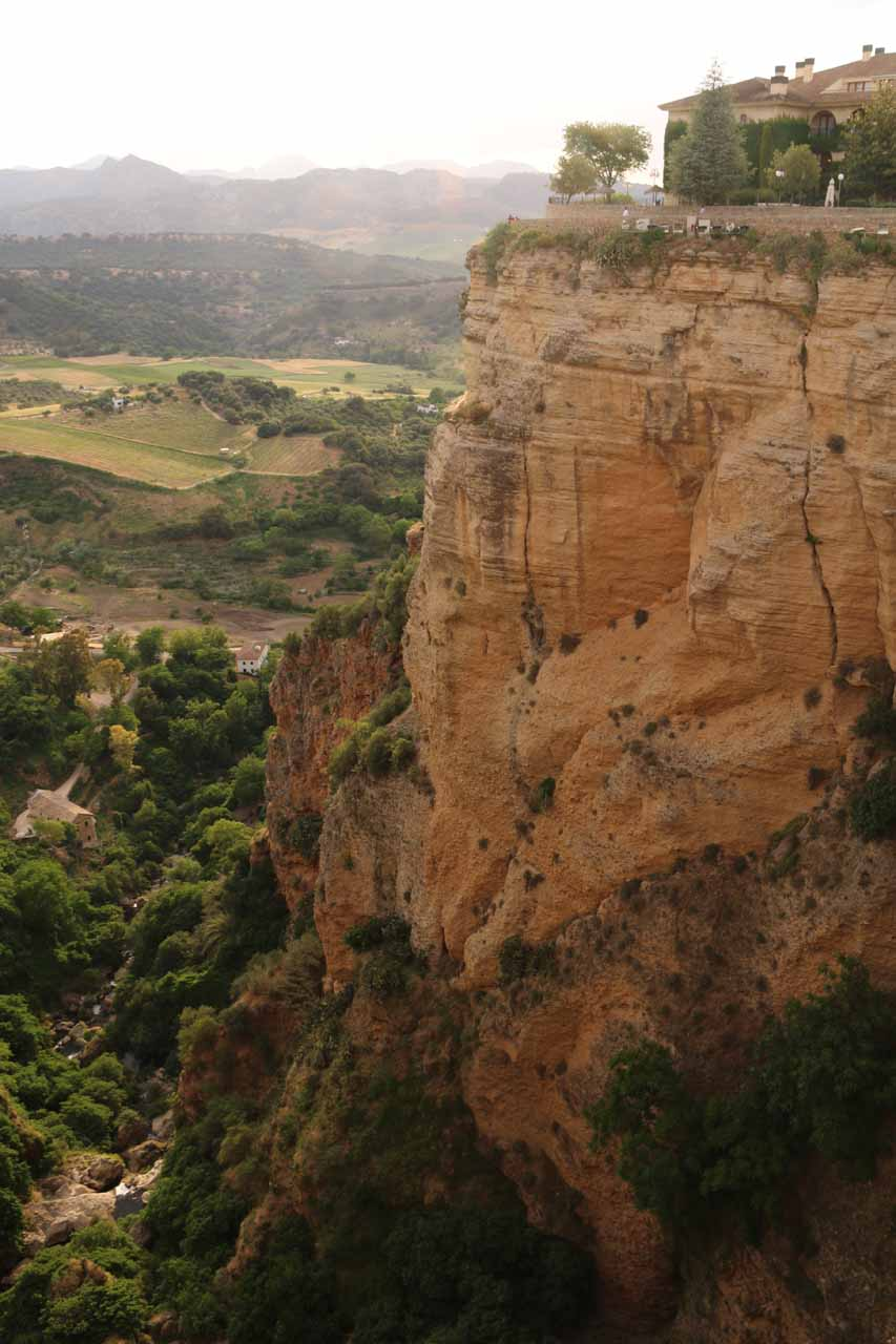 While walking towards the Plaza del Campillo from the Puente Nuevo, we got this closer look across the Tajo Gorge at a cliff holding up the New Town of Ronda