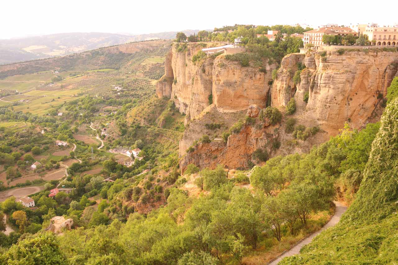 Looking across the Tajo Gorge towards the New Town portion of Ronda perched atop rugged cliffs in a nearly impossibly scenic location