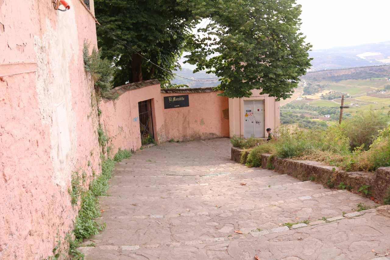 Descending the steps and trail leading beneath the Plaza del Campillo into the Tajo Gorge