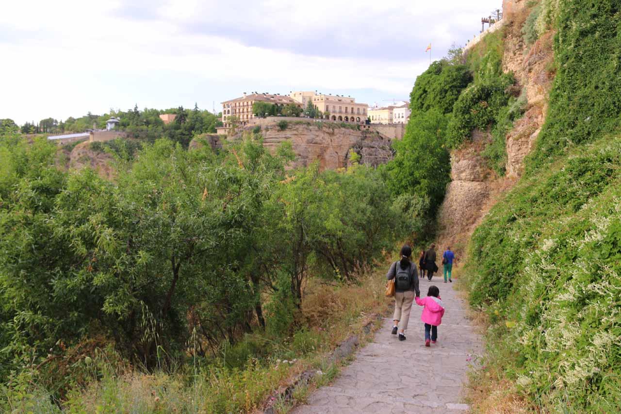 Julie and Tahia descending along the Camino de los Molinos into the Tajo Gorge
