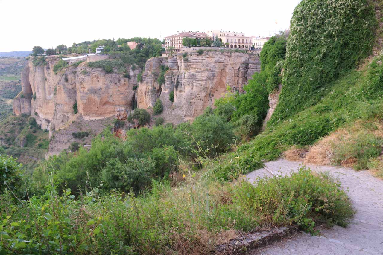 Context of the Camino de los Molinos descending into the Tajo Gorge with the New Town of Ronda perched across the top of the gorge on the other side