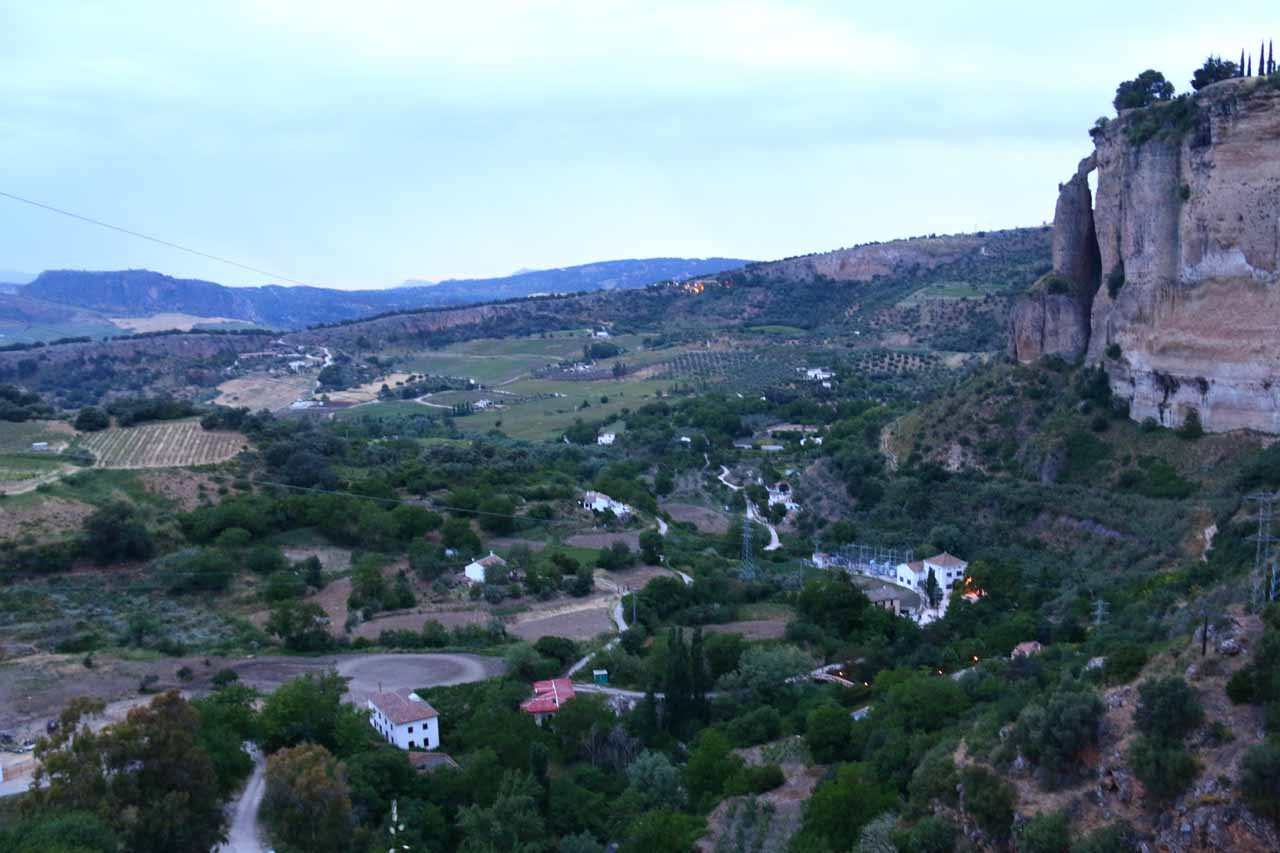 Early in the following morning, I did a solo hike back down into the Tajo Gorge, but this time I went far enough down the gorge to get this panoramic view of a jug handle arch framing the landscape below