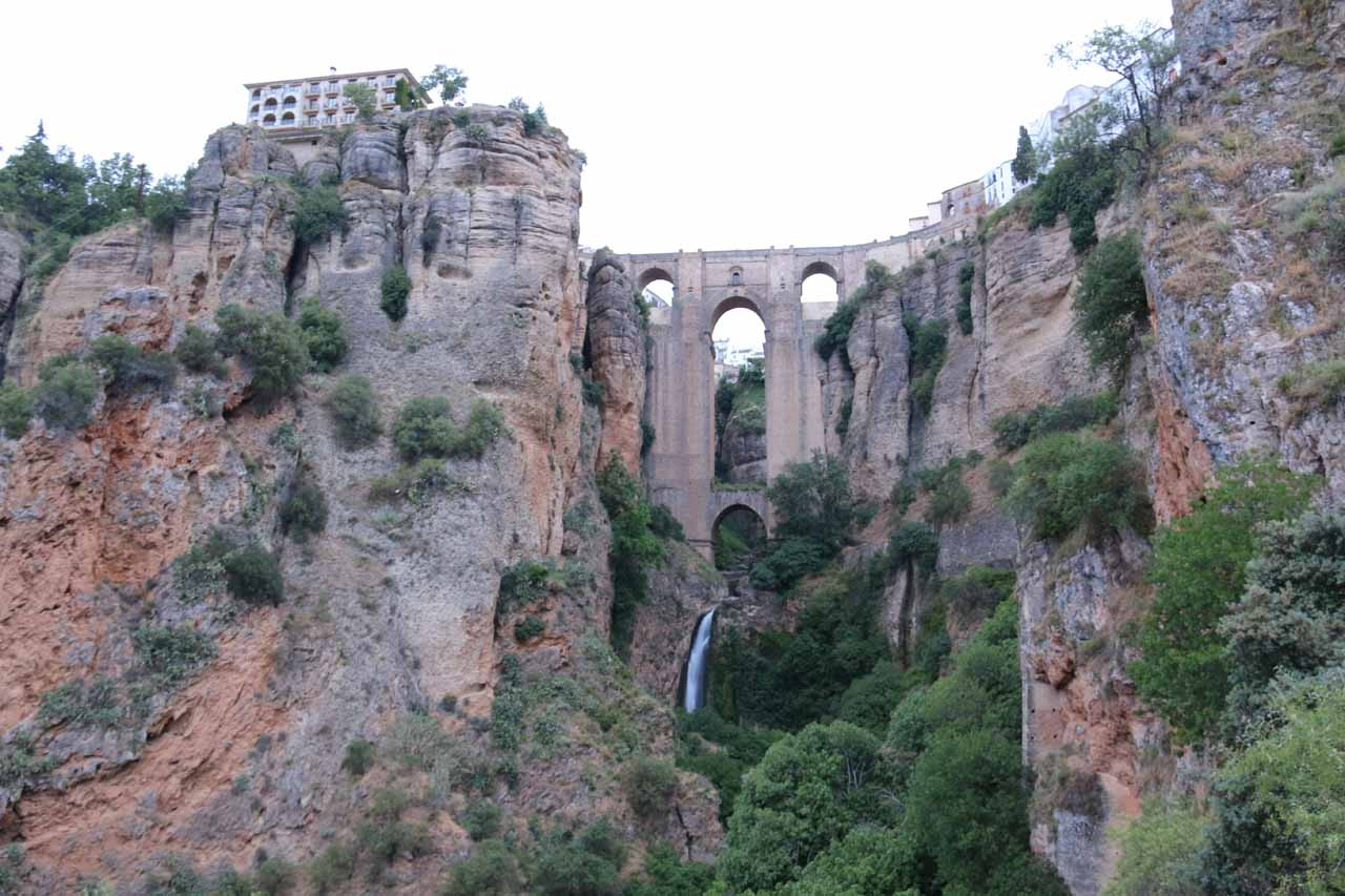 View of the Ronda Waterfall from further down in the Tajo Gorge